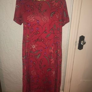 Lularoe Carly Dress Red Floral Size Small